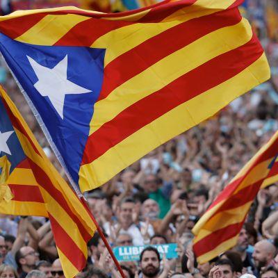 Ihmiset osoittivat mieltään Katalonian itsenäistymisen puolesta Barcelonassa 21. lokakuuta.