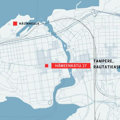 Tampereen kartta, johon on merkitty Hämeenkatu 27.