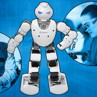 Kuvakollaasi robotista, hitsarista ja tutkijasta.