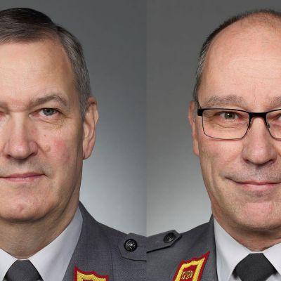 Kuvakollaasissa kenraalimajuri Markku Myllykangas (vas.) ja kenraalimajuri Timo Kakkola.