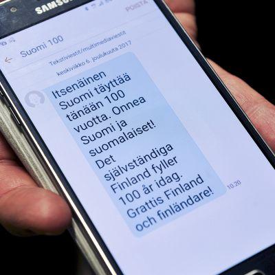 Valtioneuvoston kanslian Suomi 100 -organisaatio lähetti itsenäisyyspäivänä 6. joulukuuta 2017 suomalaisten matkapuhelimiin tekstiviestionnittelun.