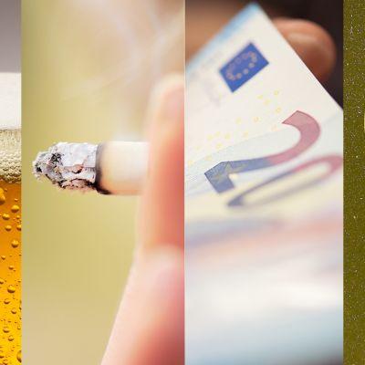 Kuvakollaasi jossa olutta, tupakka, rajaa ja kala.
