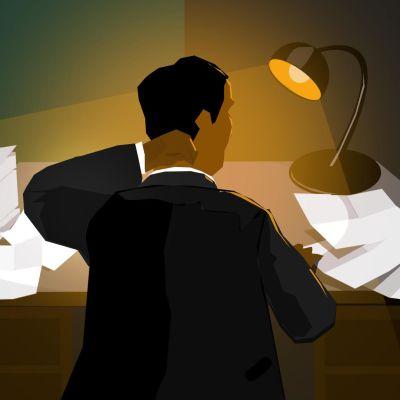 Epätoivoinen yrittäjä työpöytänsä ja laskujensa kera
