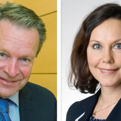 Grafiikassa rinnakkain Ilkka Kanerva ja Anne-Mari Virolainen.