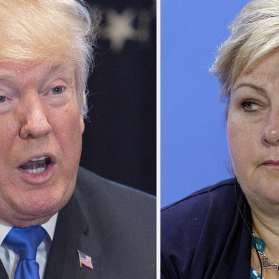 Donald Trump ja Erna Solberg.