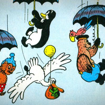 Rasmus Nallen hahmot tippumassa sateenvarjoineen