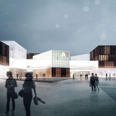 Aalto-yliopiston taiteiden ja suunnittelun korkeakoulun pääsisäänkäynti. Siitä pääsee myös kauppakorkekouluun.