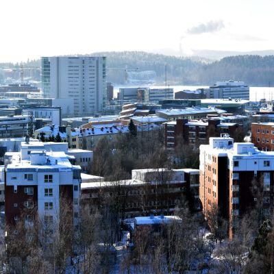 Kankaantornin huipun saunasta näkyy muun muassa Jyväskyän korkein toimistorakennus Innova ykkönen Lutakossa.