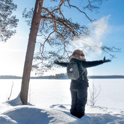 Hossan kansallispuiston maisema talvella.