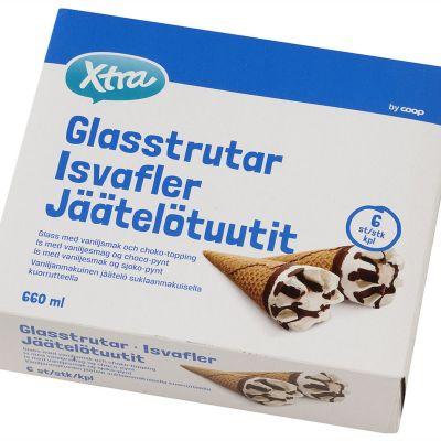 X-tra Jäätelötuuttien sinivalkoinen paketti.