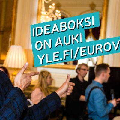 Mikko Silvennoinen kannustaa kuvassa antamaan ideoita Euroviisuille 2018