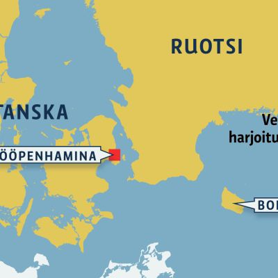 Kartta Venäjän sotaharjoitusalueesta Itämerellä.
