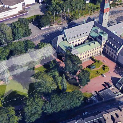 Havainnekuva Kansallismuseon uudisrakennuksen paikasta.