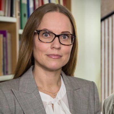 Kuvakollaasissa Itä-Suomen yliopiston yhteydessä toimivan Hyvinvointioikeuden instituutin johtaja Anna Mäki-Petäjä-Leinonen ja Helsingin yliopiston siviilioikeuden emeritusprofessori Urpo Kangas.