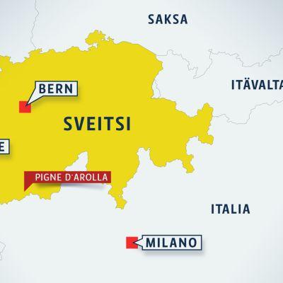 Kartta, josta selviää Pigne d'Arollan sijainti.