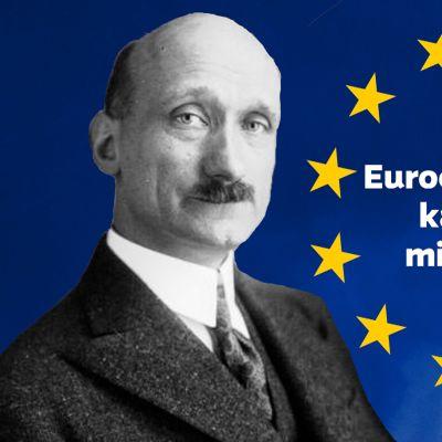 """EU:n tähdet, Robert Schuman ja teksti """"Eurooppa-päivä kahdessa minuutissa"""""""
