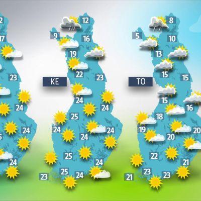 Kolmen päivän lämpötilakartta.