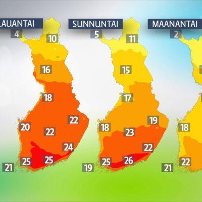 Lauantain, sunnuntain ja maanantain sääkartta.