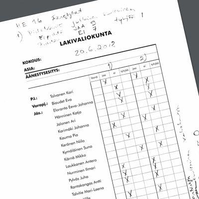 Yksityiskohta lakivaliokunnan asiakirjasta.
