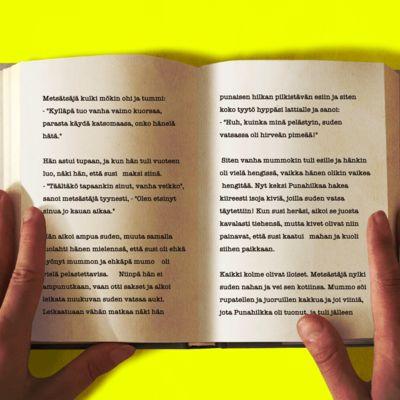 Kirja, jossa on teksti hyppii.