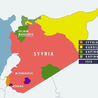 Syyrian taistelutilanne kartalla