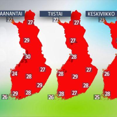 Ylimmät lämpötilat maanantaista keskiviikkoon.