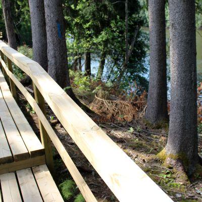 Kymijoen ulkoilureitin puinen kävelysilta
