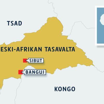 Keski-Afrikan tasavallan kartta.