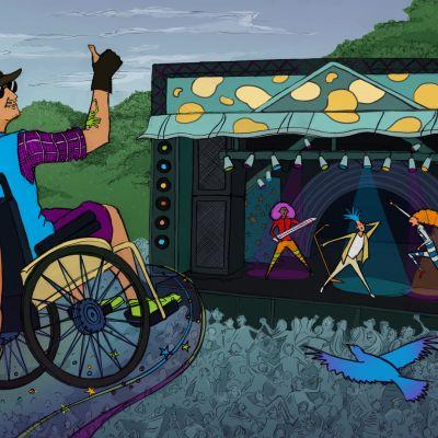 Kuvitettu ihminen pyörätuolissa festivaaleilla.