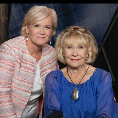 Anne Flinkkilä ja Eeva Litmanen tv-ohjelman nauhoituksen jälkeen.