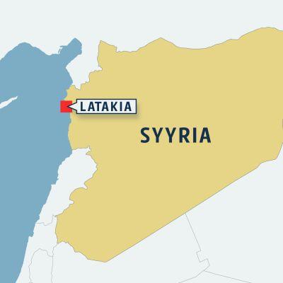 Latakia Syyrian kartalla.