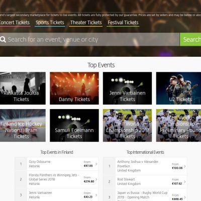 Kuvakaappaus Viagogo.com/fi -nettisivuilta.