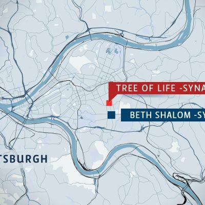 Tree of Life - ja Beth Shalom -synagogien sijainnit Pittsburghissa.