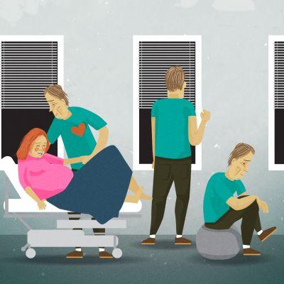Grafiikka, jossa on erilaisia isä synnytyssalissa.