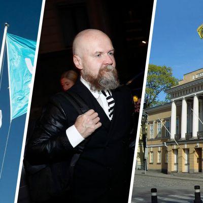 Bildcollager av Yle-flaggor, Alexander Bard samt Åbo Akademis huvudbyggnad