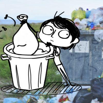 Valokuva roskislaatikosta johon yhdistetty graafinen ihmishahmo.
