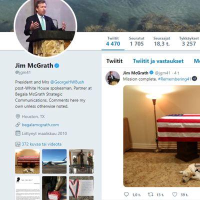 Jim McGrathin Twitter-tilin ylimpänä kuvana on kuva Sully-koirasta.