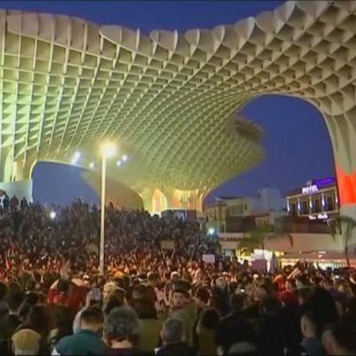 Demonstration i Sevilla, Spanien den 4 december 2018.
