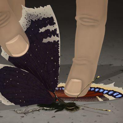 Sormet repivät perhosen siipiä pois