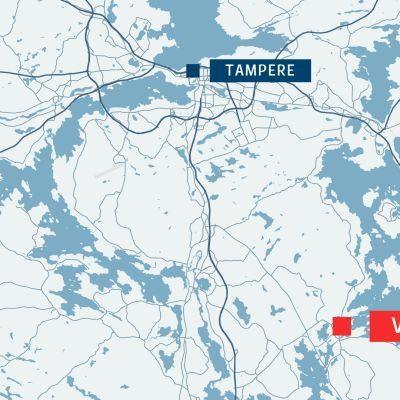 Kartta, jossa Tampereen ja Valkeakosken sijainnit.
