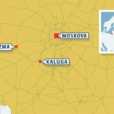 Bussionnettomuus Venäjällä -kartta
