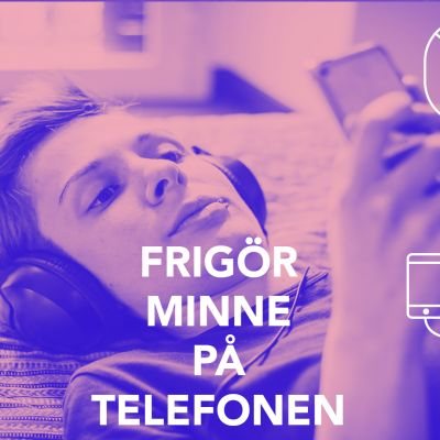 Bild med texten; Frigör minne på telefonen.