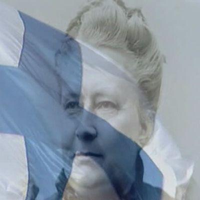 Minna Canthin kasvojen päällä siniristilippu