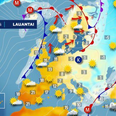 Euroopan sääkartta lauantaina 23. helmikuuta.