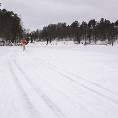 Hiihtäjä juuri tehdyllä ladulla Valkeisenlammella Kuopiossa.