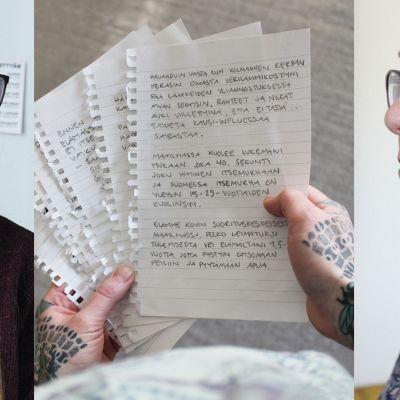 Kaksi naista katsoo, kun kolmas pitää käsissään kirjettä