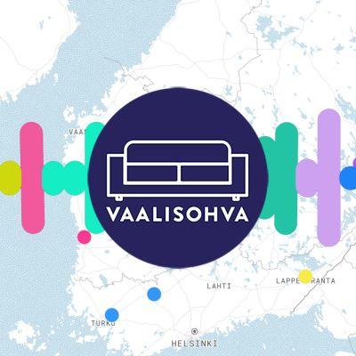 Suomen kartan päällä Vaalisohva-tunnus ja värikäs ääninauhaa mukaileva graafinen elementti