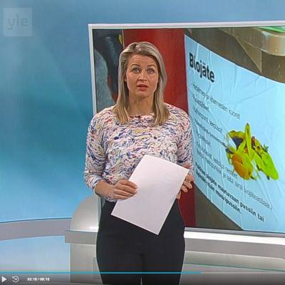 Milla Madetoja ankkurina uutisissa.