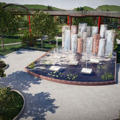 Havainnekuva tapahtumapuutarha Botaniaan suunnitellusta englantilaisesta puutarhasta.