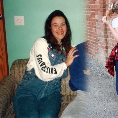 Nuori tyttö 1993 ja toinen nuori tyttö vuonna 2019 farkkuasuissaan